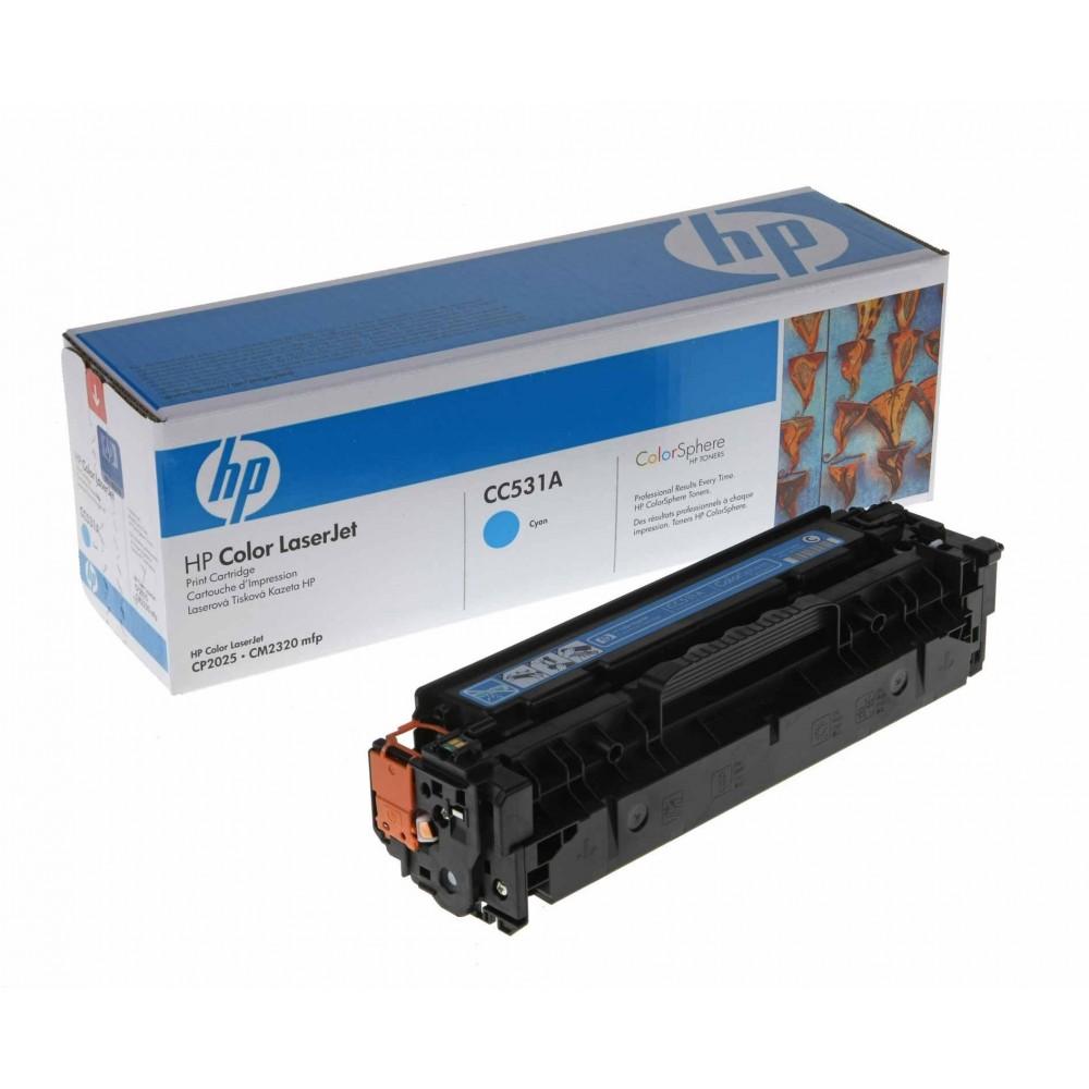 Заправка картриджа HP CC531A (голубой) для принтеров HP CLJ CP2025 / CM2320